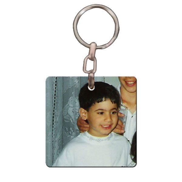 מחזיק מפתחות מרובע עם תמונה