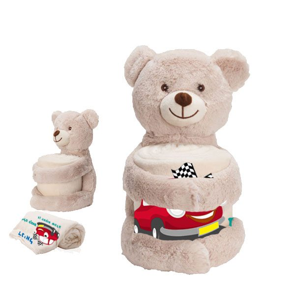 שמיכת פליז עם דובי - מתנה כפולה ליום הולדת