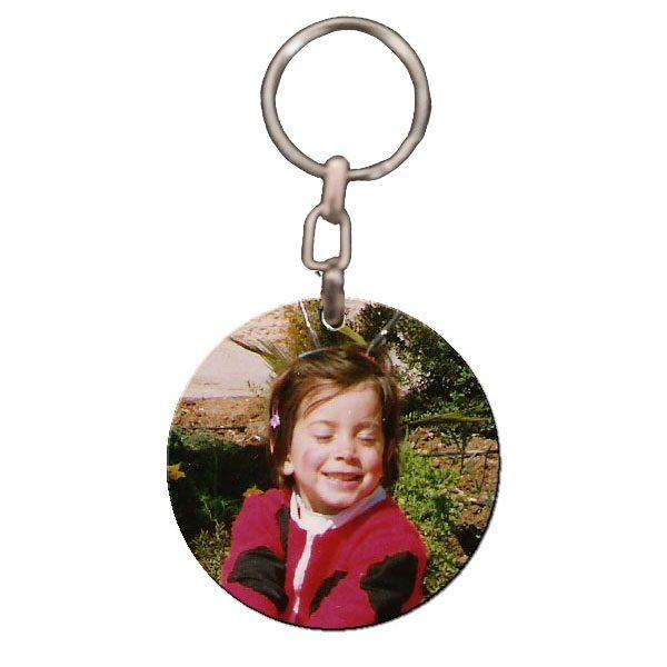 מחזיק מפתחות עגול מעץ מבריק עם תמונה