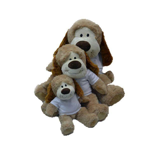 בובת פרווה כלב - כלב מפרווה עם חולצה מודפסה