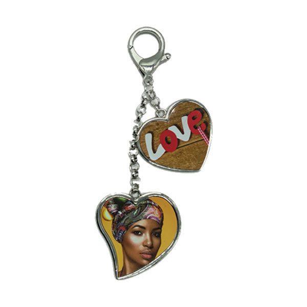 מחזיק מפתחות יוקרתי עם 2 לבבות בהדפסה דו צדדית מתנה לגננת