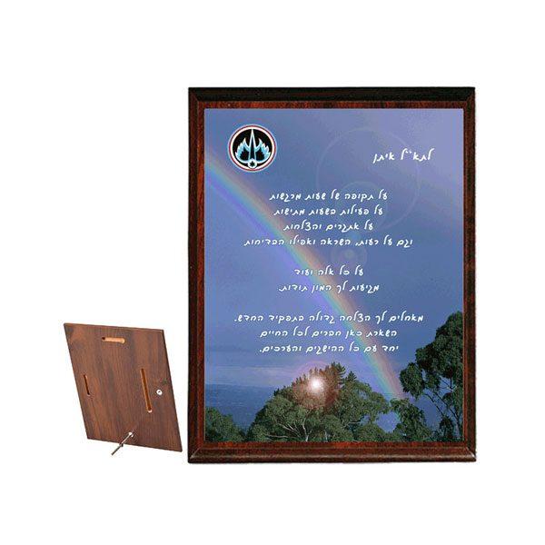 מגן הוקרה מעץ, למפקד עשוי עץ בשילוב מתכת לשינוי תפקיד לפי הזמנה - מתנה למפקד