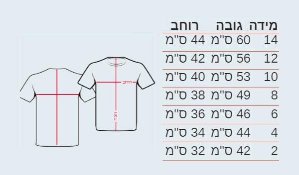 מידות החולצות לילדים ואופן מדידתן